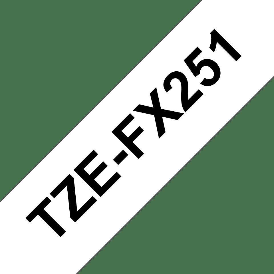 Originele Brother TZe-FX251 flexibele ID label tapecassette – zwart op wit, breedte 24 mm