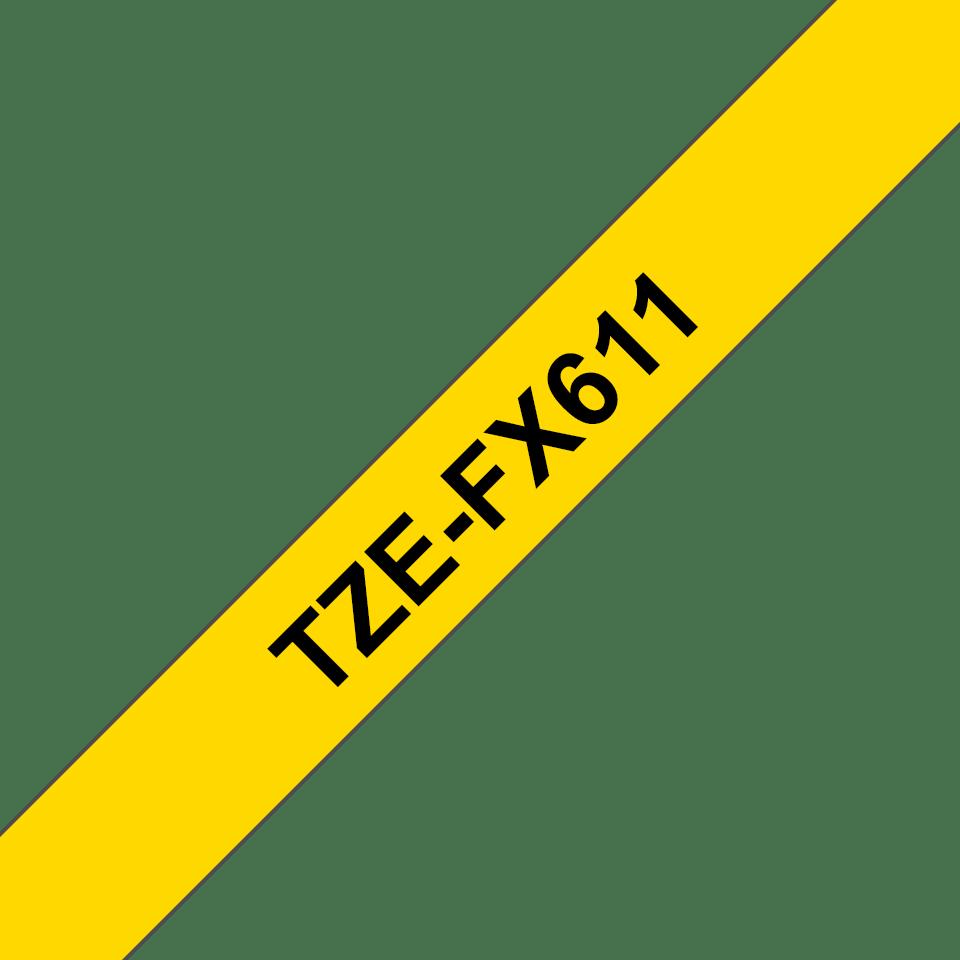 Originele Brother TZe-FX611 flexibele ID label tapecassette – zwart op geel, breedte 6 mm