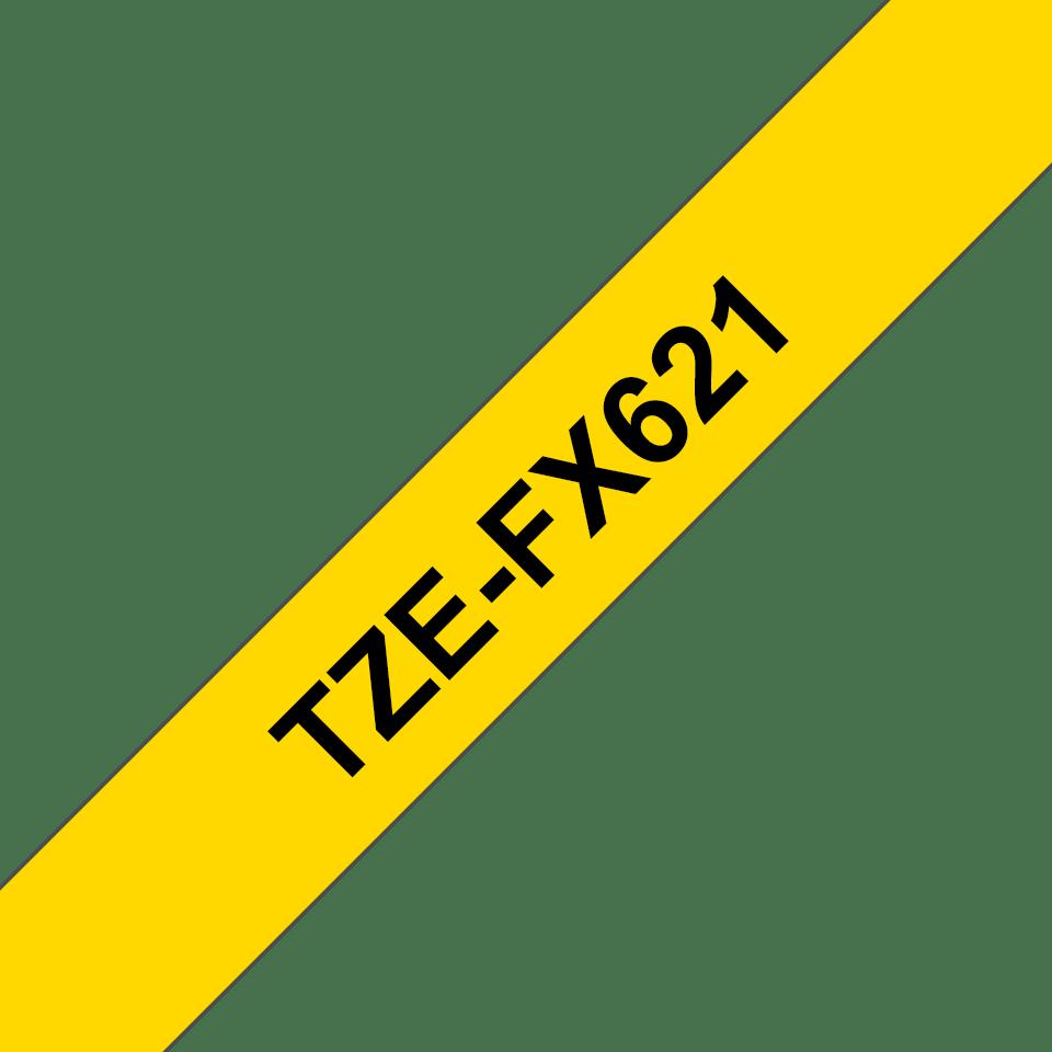 Originele Brother TZe-FX621 flexibele ID label tapecassette – zwart op geel, breedte 9 mm