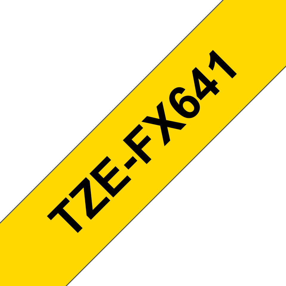 Originele Brother TZe-FX641 flexibele ID label tapecassette – zwart op geel, breedte 18 mm