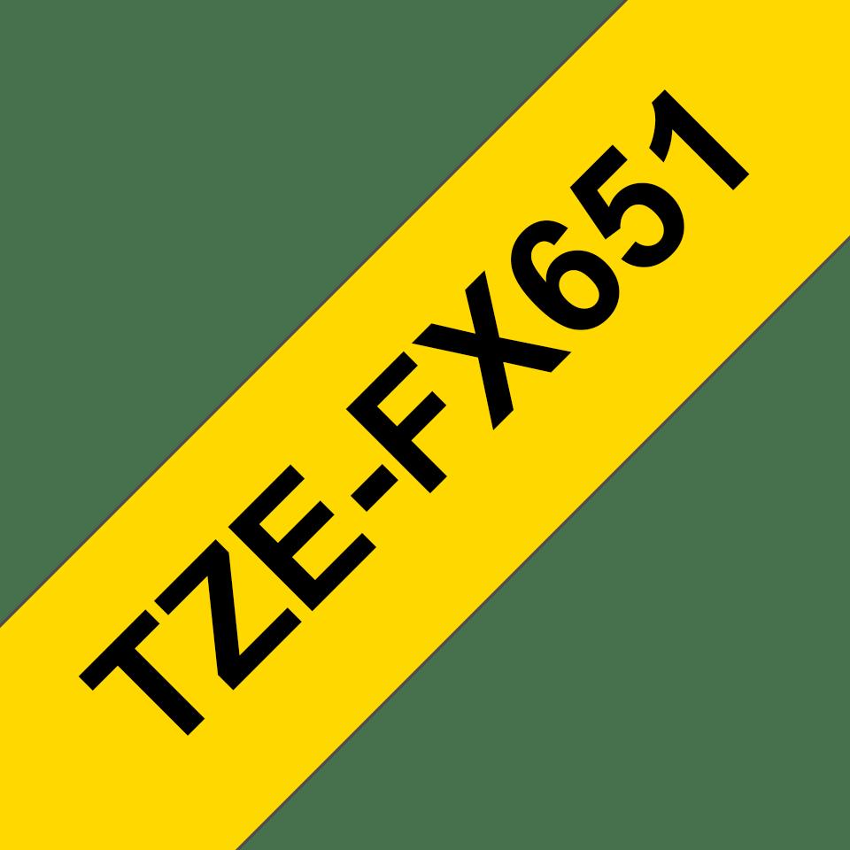 Originele Brother TZe-FX651 Flexibele ID-tape – zwart op geel, breedte 24 mm