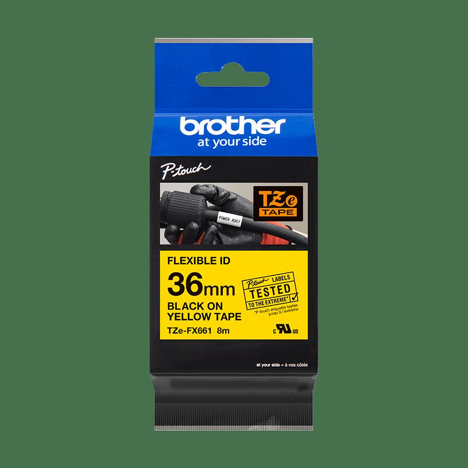 Originele Brother TZe-FX661 flexibele ID label tapecassette – zwart op geel, breedte 36 mm 3