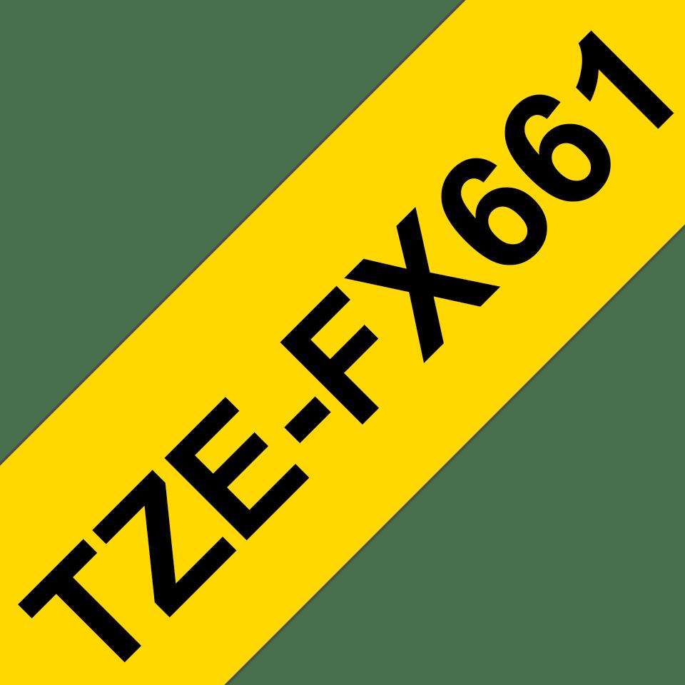 Originele Brother TZe-FX661 flexibele ID label tapecassette – zwart op geel, breedte 36 mm