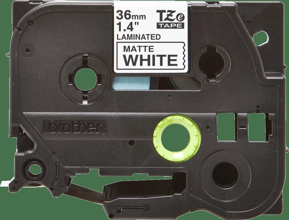 TZe-M261 mat gelamineerde labeltape zwart op wit – breedte 36 mm