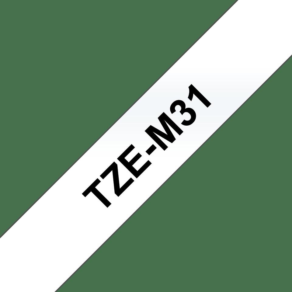 Originele Brother TZe-M31 label tapecassette – zwart op mat transparant, breedte 12 mm