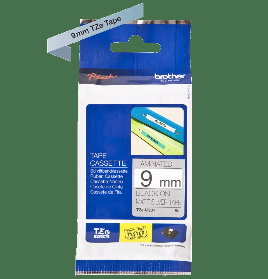 Originele Brother TZe-M921 label tapecassette – zwart op mat zilver, breedte 9 mm 3
