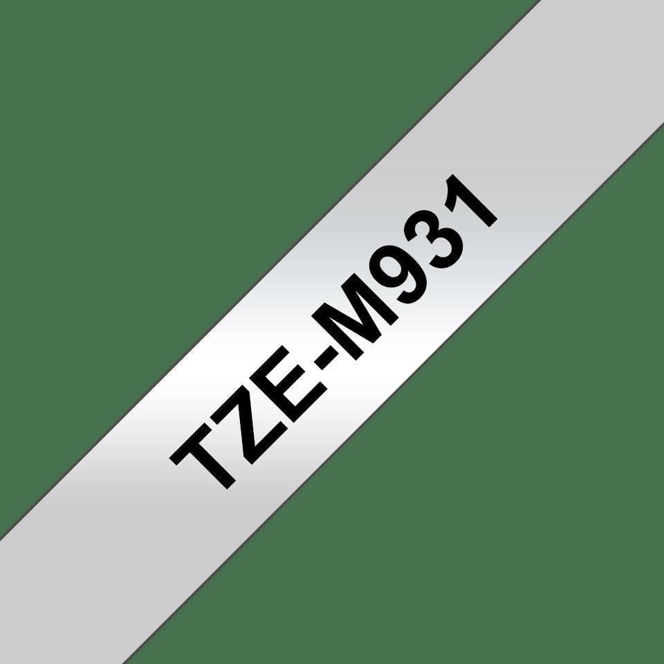 Originele Brother TZe-M931 tapecassette – zwart op mat zilver, breedte 12 mm