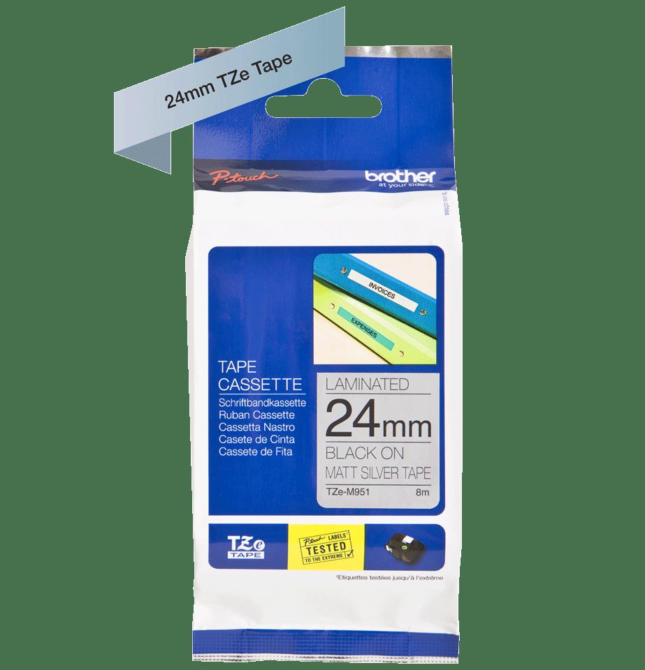 Originele Brother TZe-M951 tapecassette – zwart op mat zilver, breedte 24 mm 3