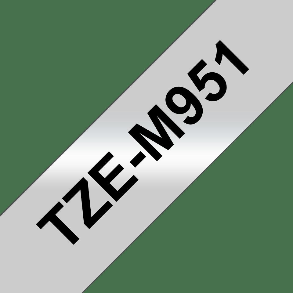 Originele Brother TZe-M951 tapecassette – zwart op mat zilver, breedte 24 mm