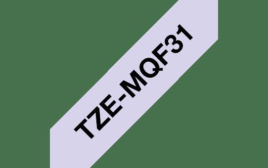 Originele Brother TZe-MQF31 label tapecassette – zwart op pastel paars, breedte 12 mm 3