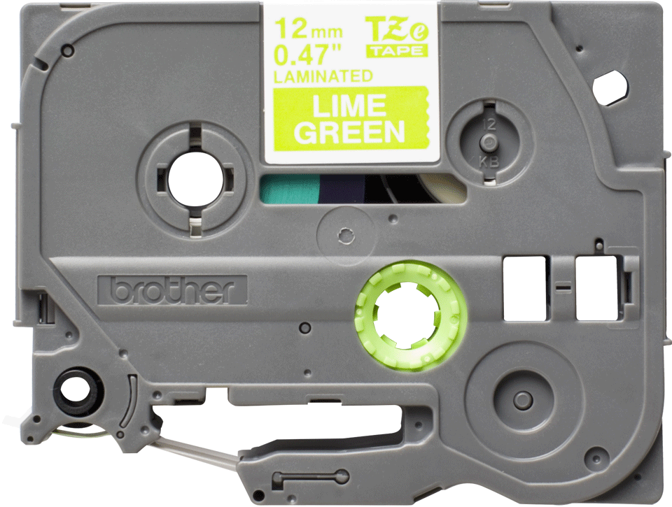 Originele Brother TZe-MQG35 label tapecassette – wit op lime groen, breedte 12 mm 2