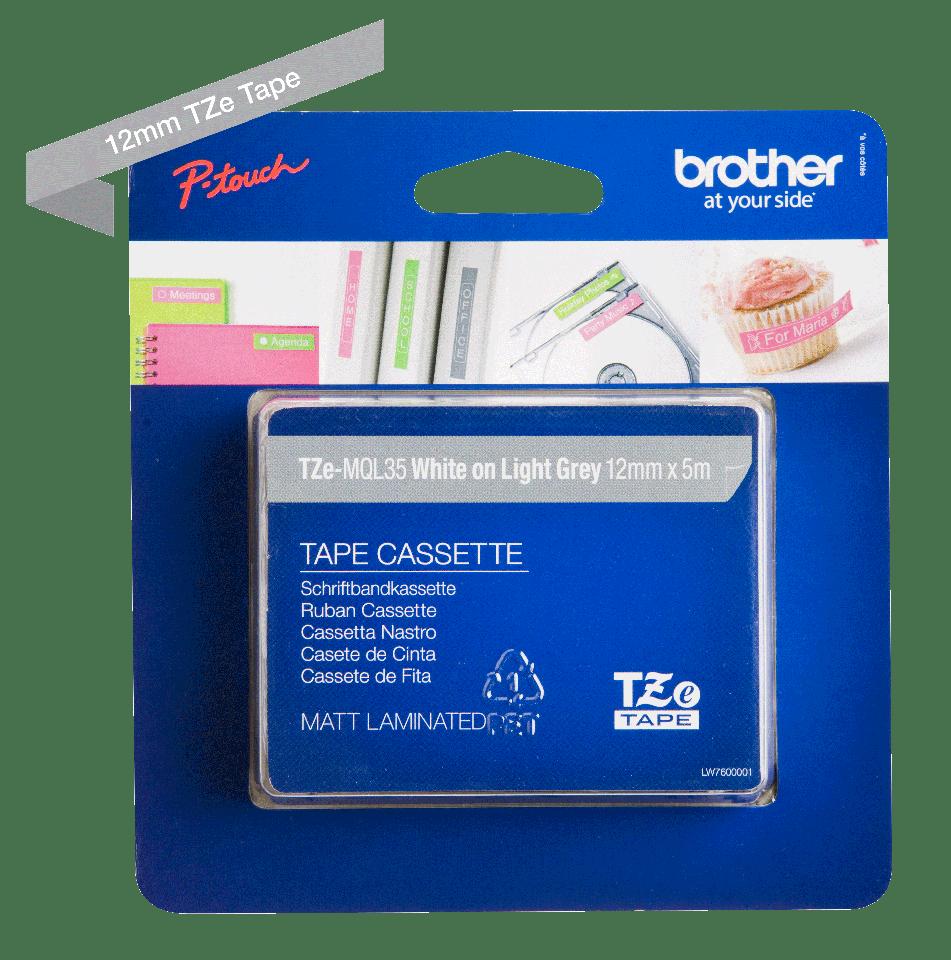 Originele Brother TZe-MQL35 labeltape – wit op grijs, breedte 12 mm 2
