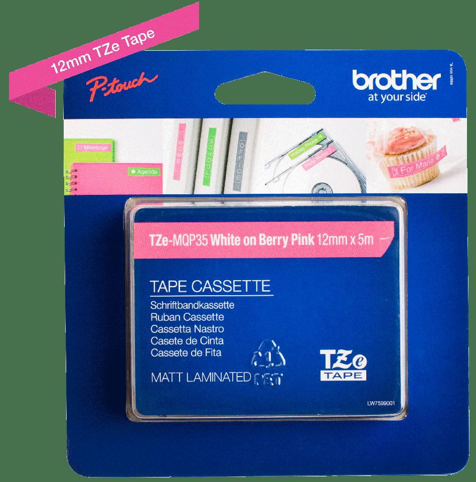 Originele Brother TZe-MQP35 tapecassette – wit op berry roze, breedte 12 mm 3