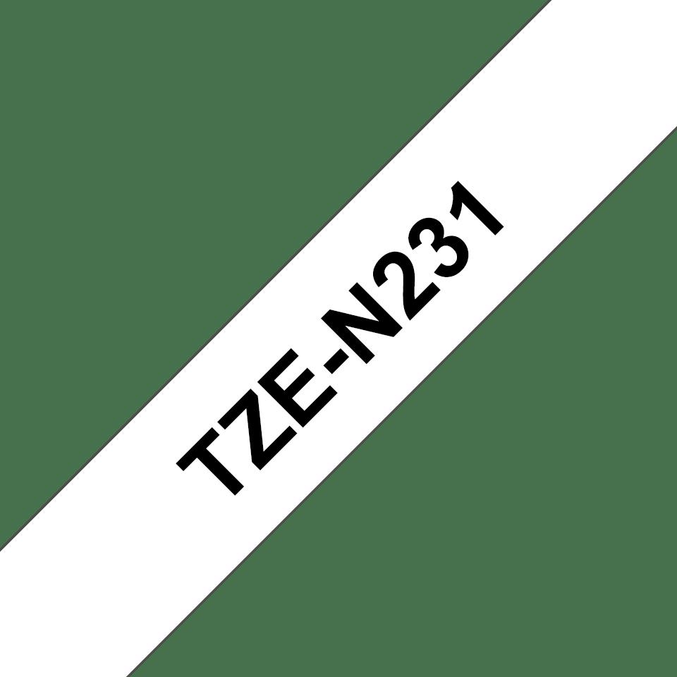Originele Brother TZe-N231 tapecassette – zwart op wit, breedte 12 mm 3
