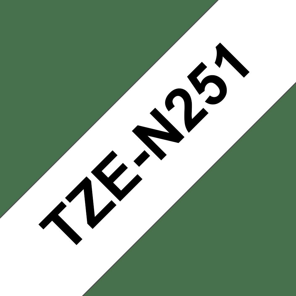 Originele Brother TZe-N251 label tapecassette – zwart op wit, breedte 24 mm