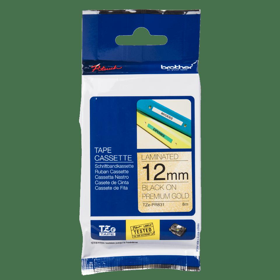 Originele Brother TZe-PR831 label tapecassette – zwart op premium goud, breedte 12 mm 2