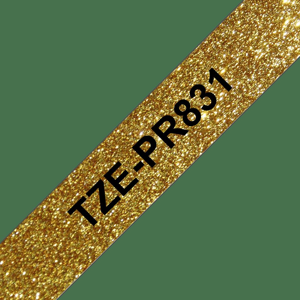 Originele Brother TZe-PR831 label tapecassette – zwart op premium goud, breedte 12 mm