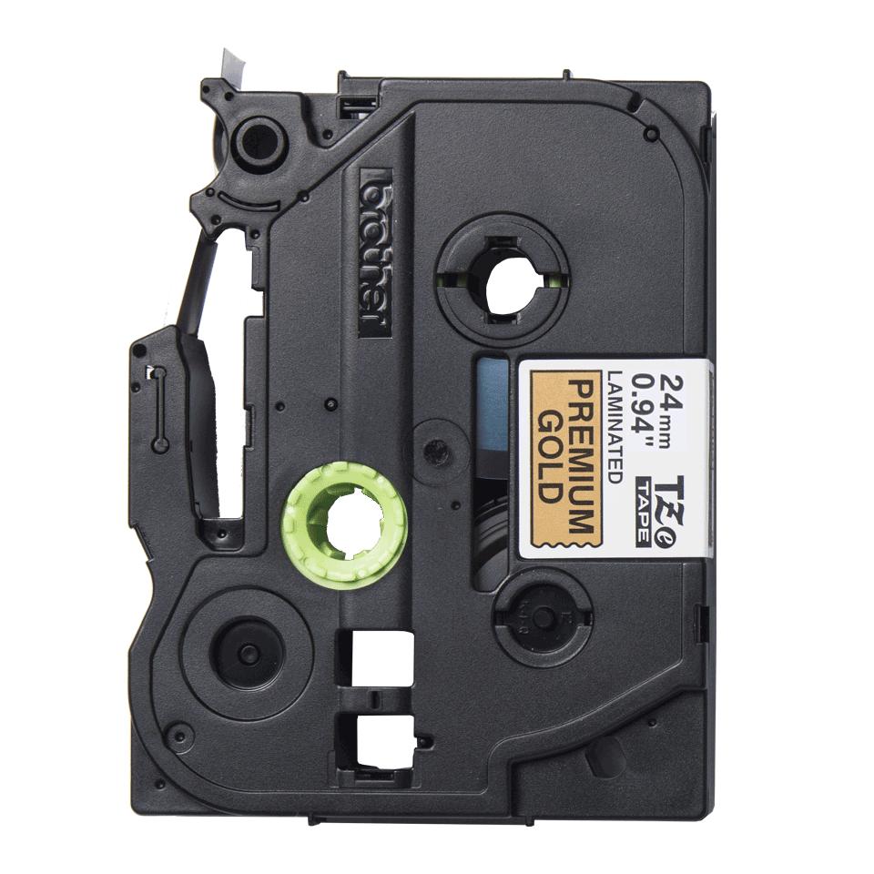 Originele Brother TZe-PR851 label tapecassette – zwart op premium goud, breedte 24 mm