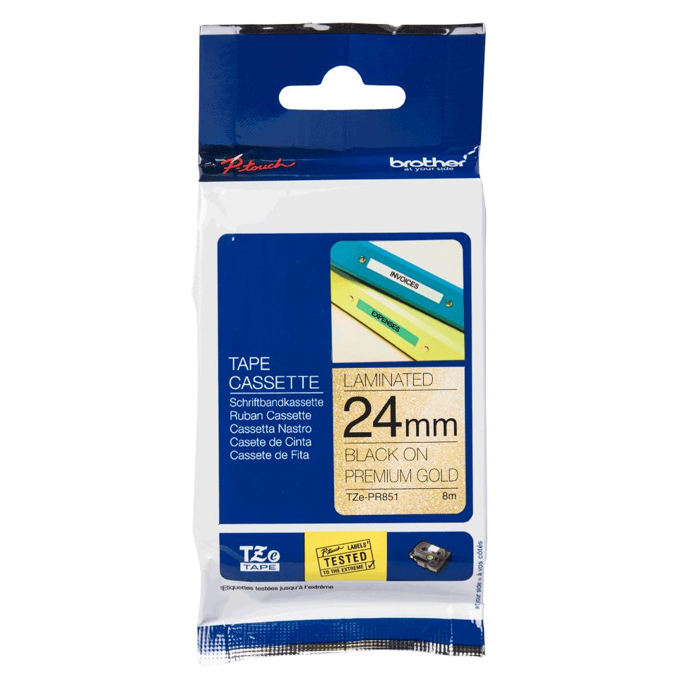 Originele Brother TZe-PR851 label tapecassette – zwart op premium goud, breedte 24 mm 2