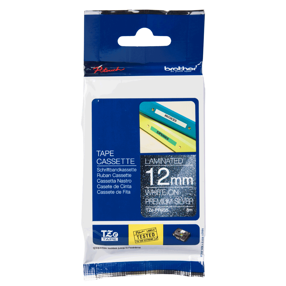Originele Brother TZe-PR935 label tapecassette - wit op premium zilver, breedte 12 mm 2