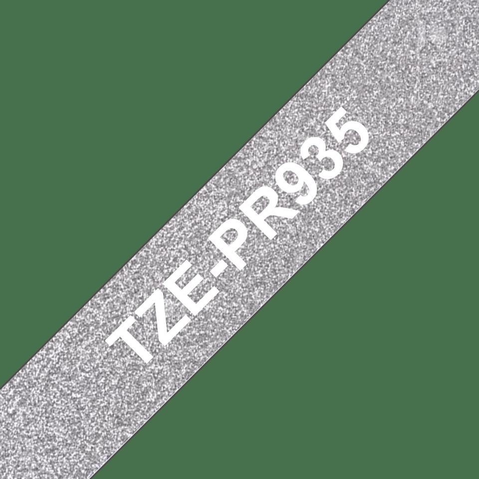 Originele Brother TZe-PR935 label tapecassette - wit op premium zilver, breedte 12 mm