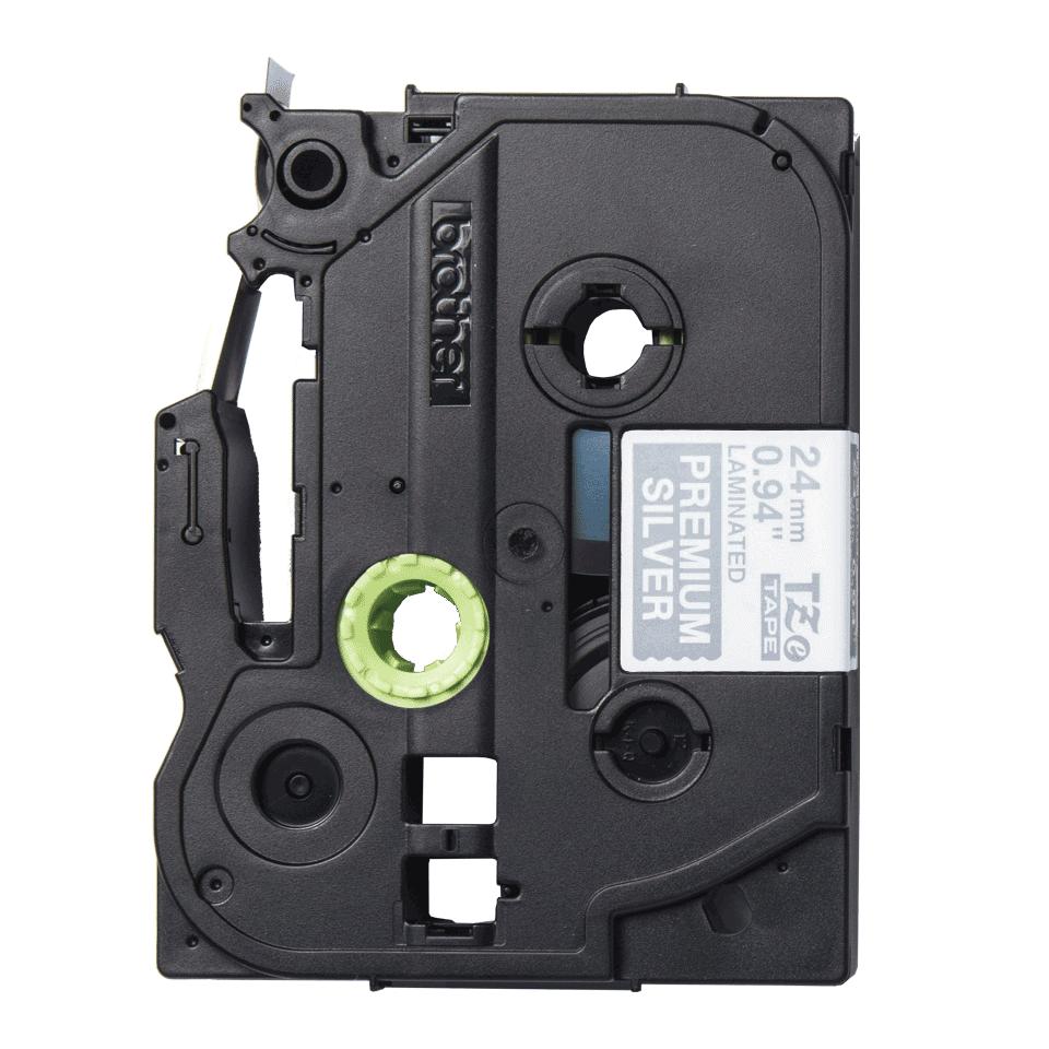 Originele Brother TZe-PR955 label tapecassette - wit op premium zilver, breedte 24 mm