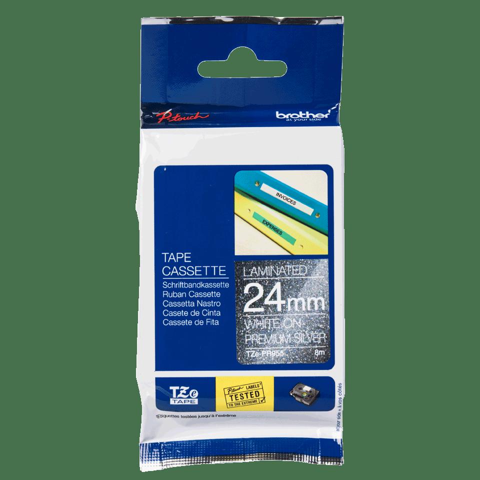 Originele Brother TZe-PR955 label tapecassette - wit op premium zilver, breedte 24 mm 2