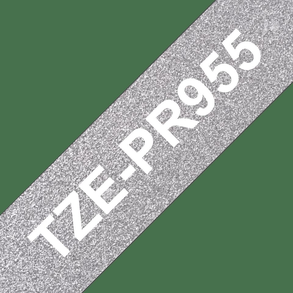 Originele Brother TZe-PR955 label tapecassette - wit op premium zilver, breedte 24 mm 3