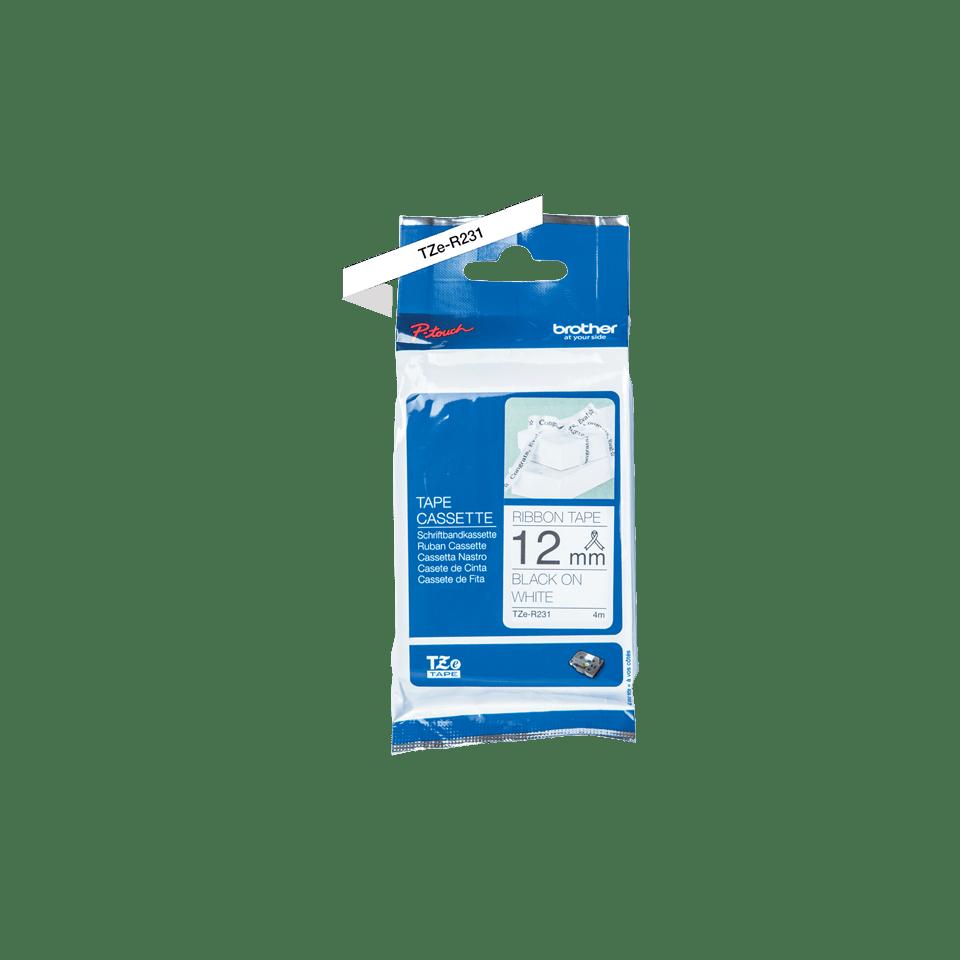 Originele Brother TZe-R231 lintcassette – zwart op wit, 12 mm breed 2