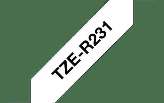 Originele Brother TZe-R231 lintcassette – zwart op wit, 12 mm breed 3