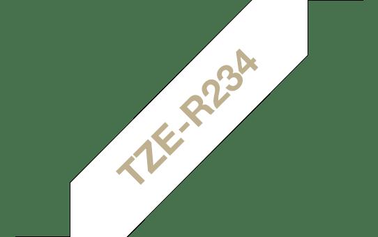 Originele Brother TZe-R234 lintcassette - goud op wit, 12 mm breed 3