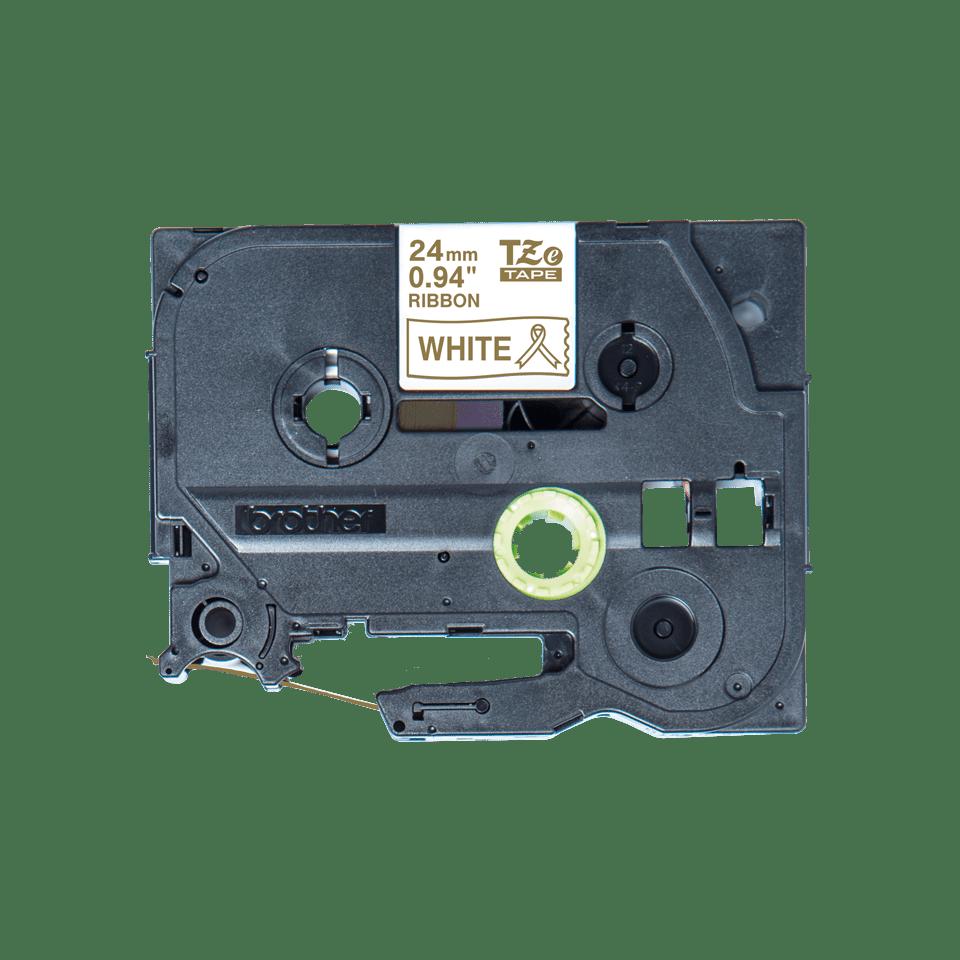 Originele Brother TZe-R254 lintcassette – goud op wit, 24 mm breed