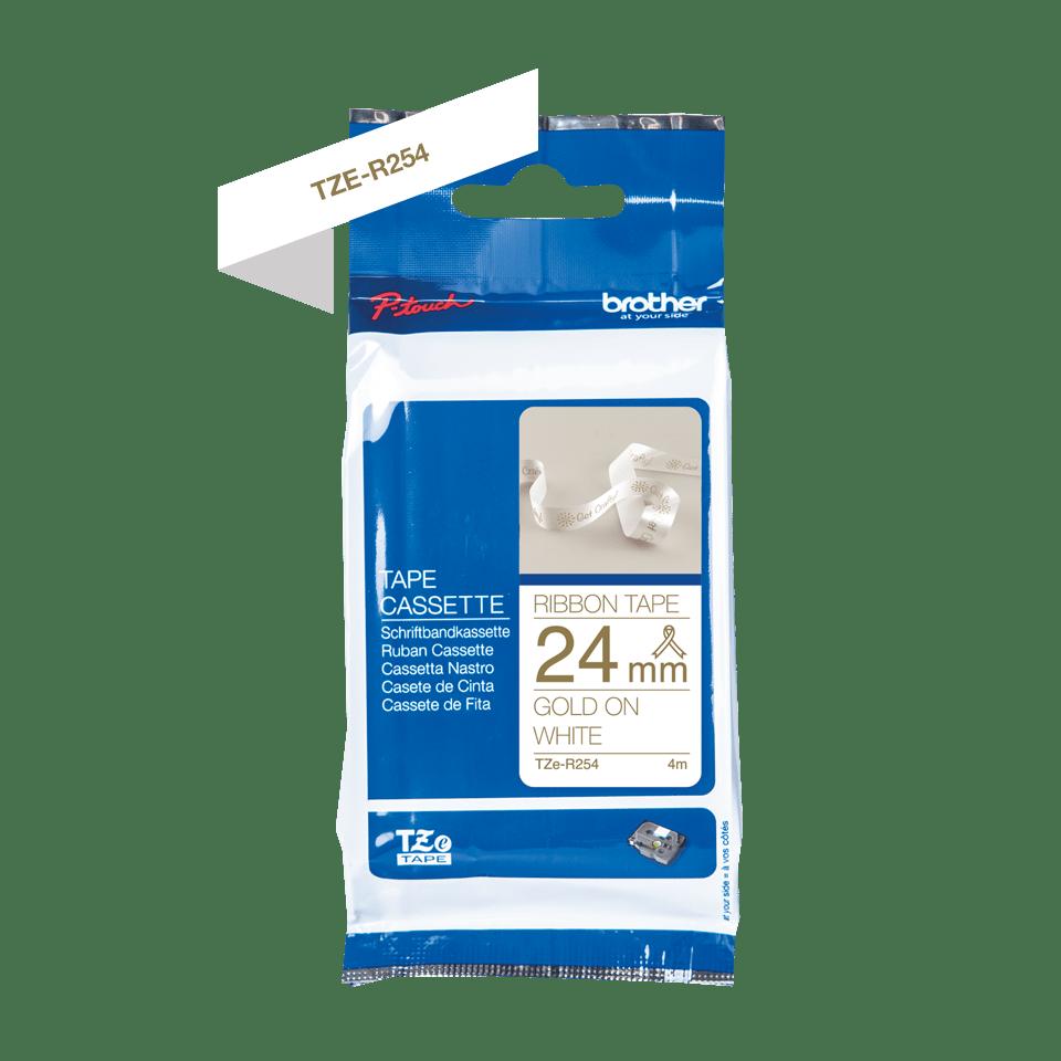 Originele Brother TZe-R254 lintcassette – goud op wit, 24 mm breed 2