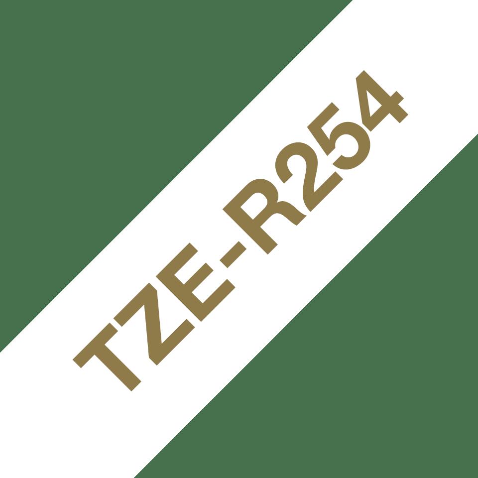 Originele Brother TZe-R254 lintcassette – goud op wit, 24 mm breed 3