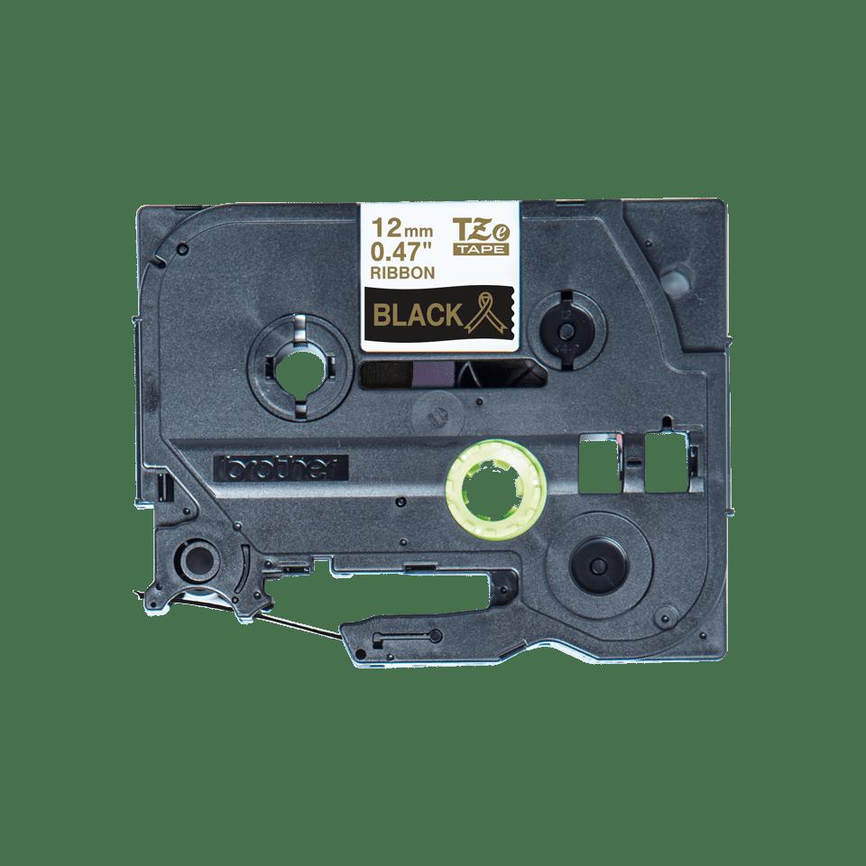 Originele Brother TZe-R334 lintcassette – goud op zwart, 12 mm breed