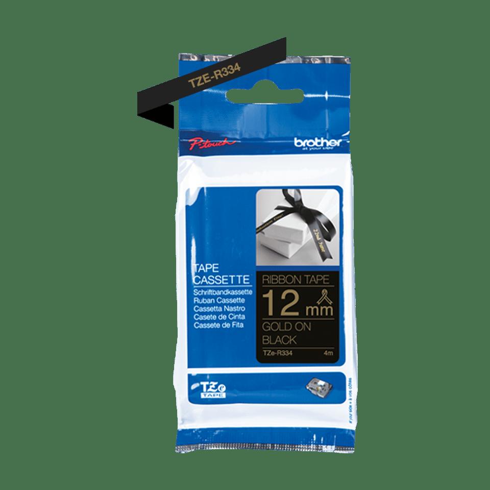 Originele Brother TZe-R334 lintcassette – goud op zwart, 12 mm breed 2