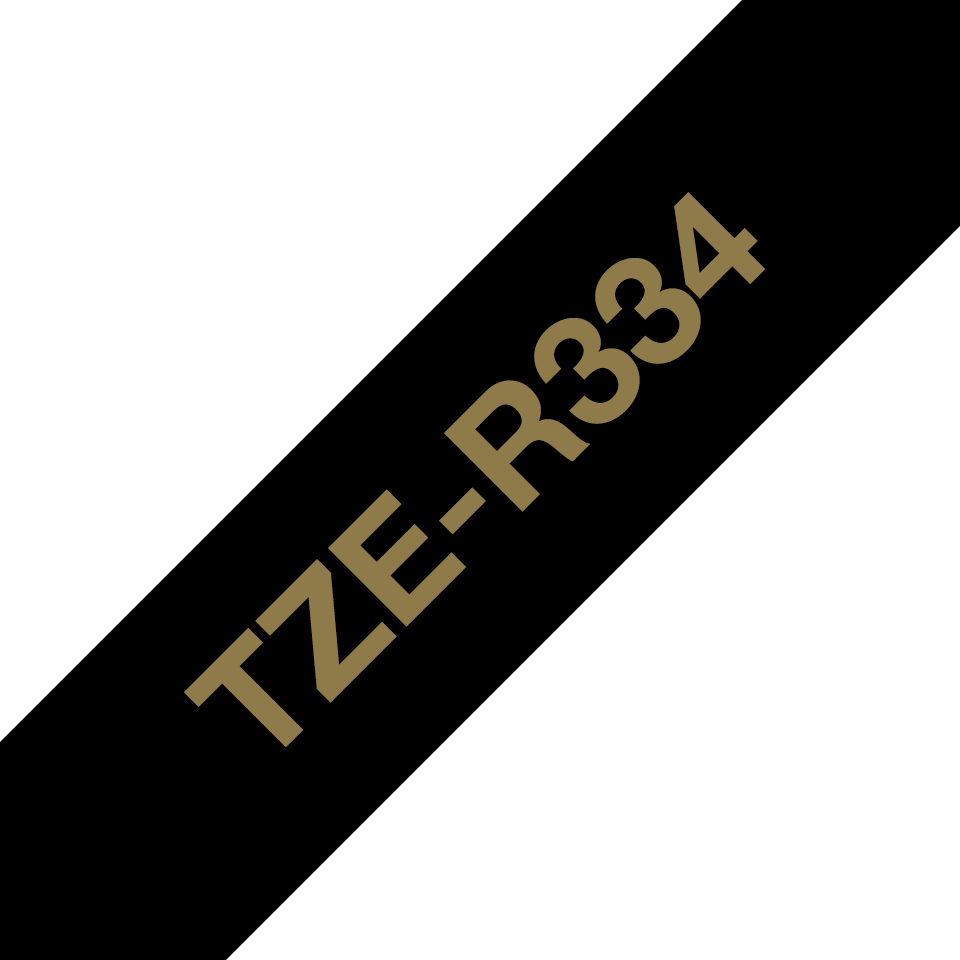 Originele Brother TZe-R334 lintcassette – goud op zwart, 12 mm breed