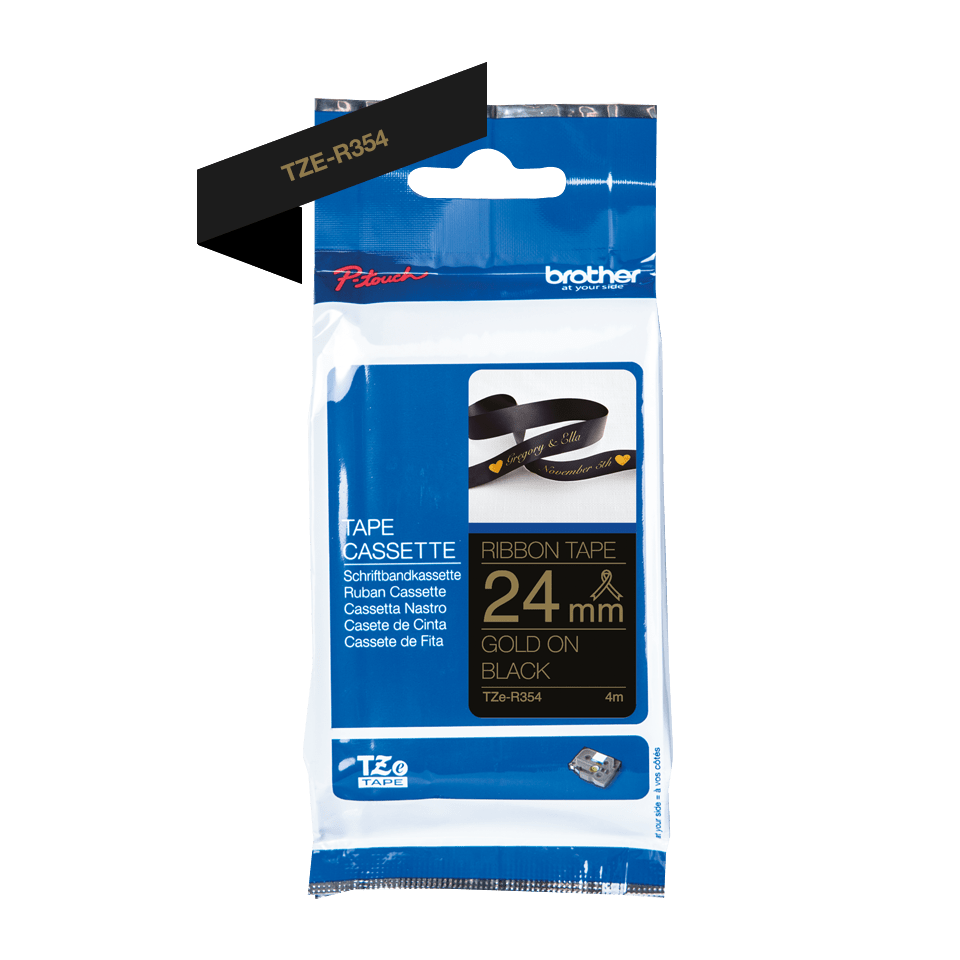 Originele Brother TZe-R354 lintcassette – goud op zwart, 24 mm breed 2