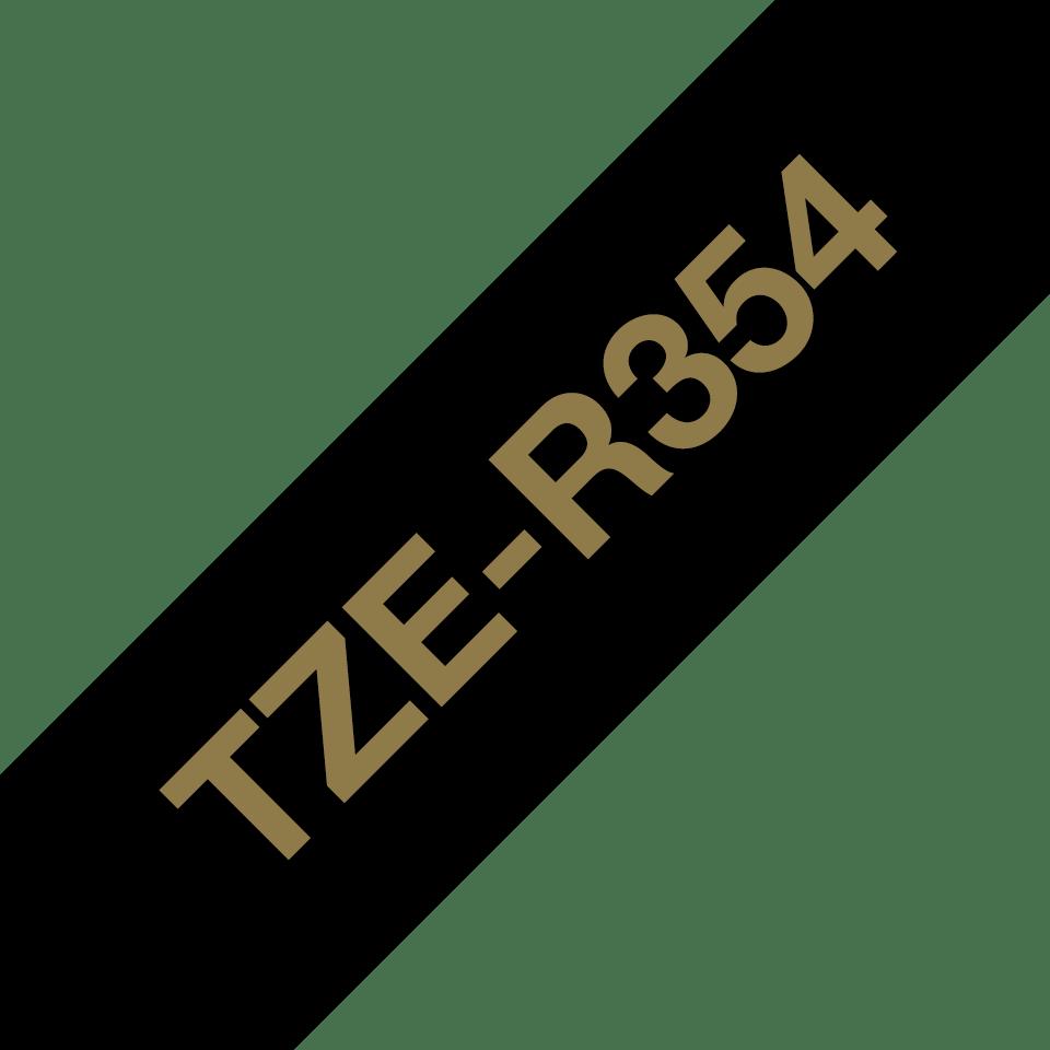 Originele Brother TZe-R354 lintcassette – goud op zwart, 24 mm breed