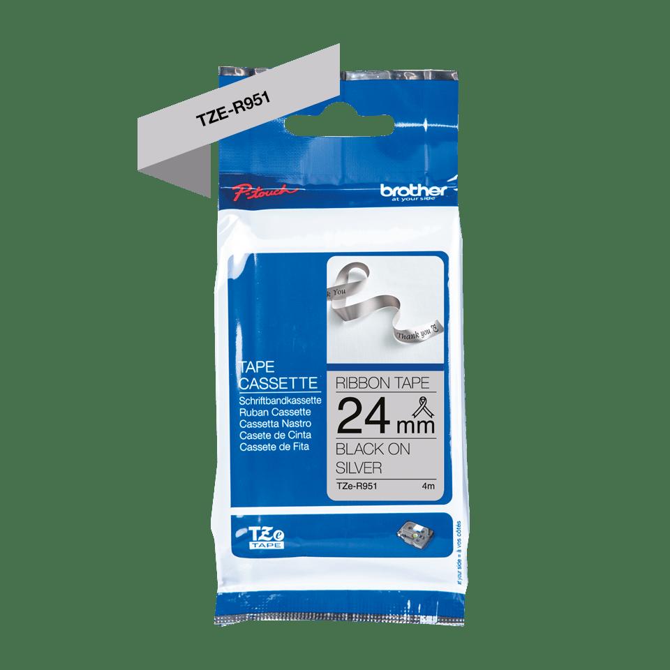 Originele Brother TZe-R951 lintcassette – zwart op zilver, 24 mm breed 2