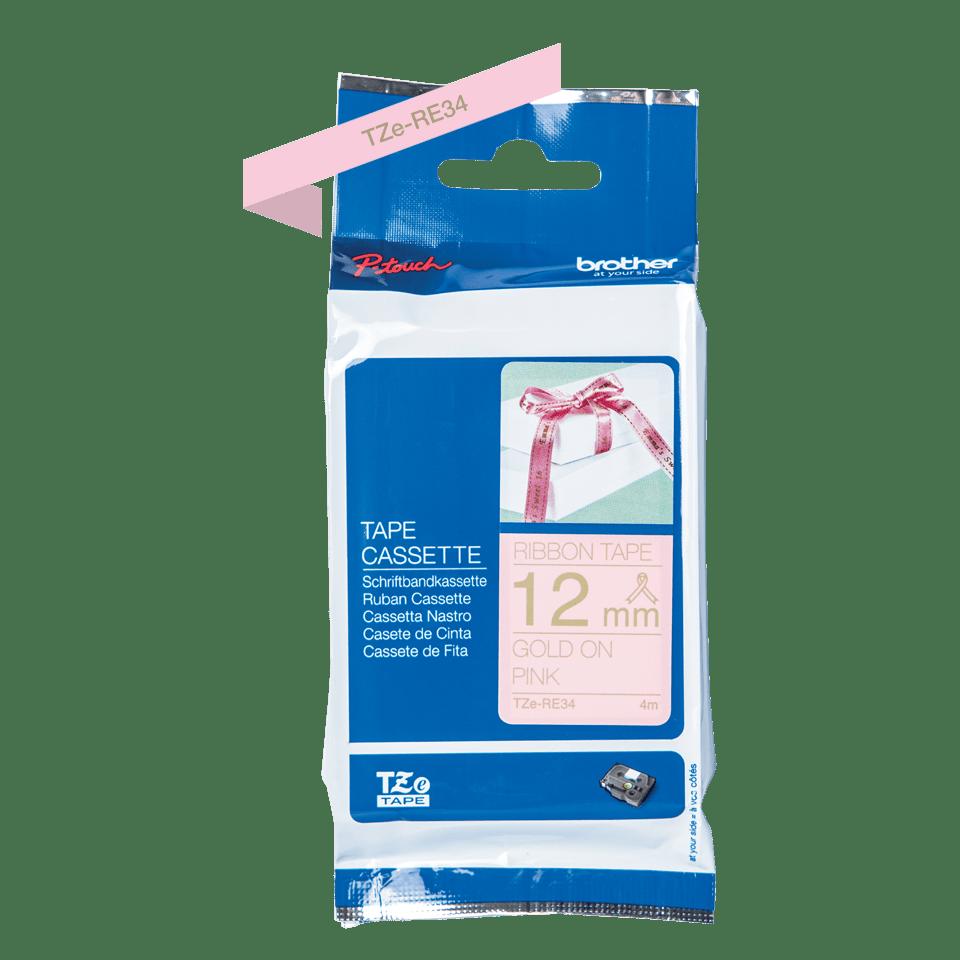 Originele Brother TZe-RE34 lintcassette - goud op roze, 12 mm breed 2