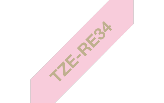 Originele Brother TZe-RE34 lintcassette - goud op roze, 12 mm breed