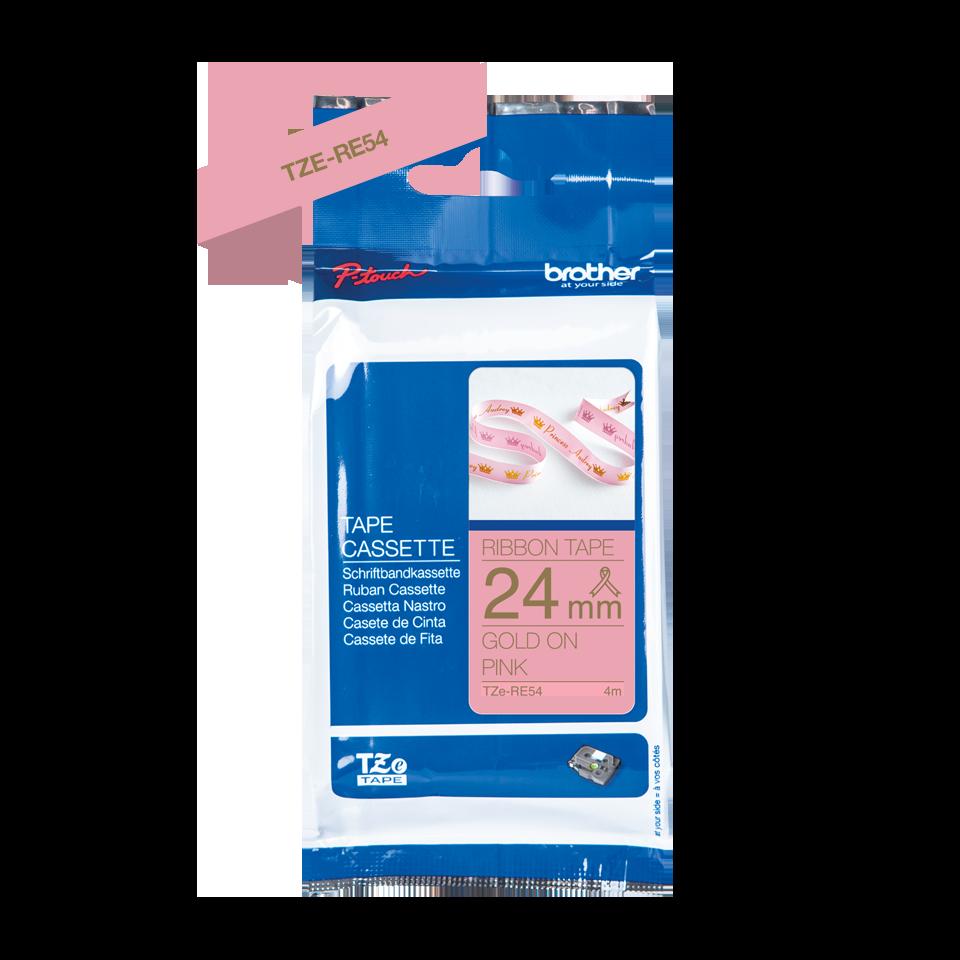Originele Brother TZe-RE54 lintcassette – goud op roze, 24 mm breed 3