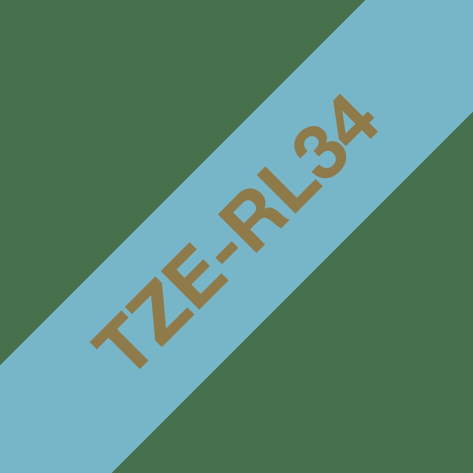 Originele Brother TZe-RL34 lintcassette – goud op lichtblauw, 12 mm breed 3