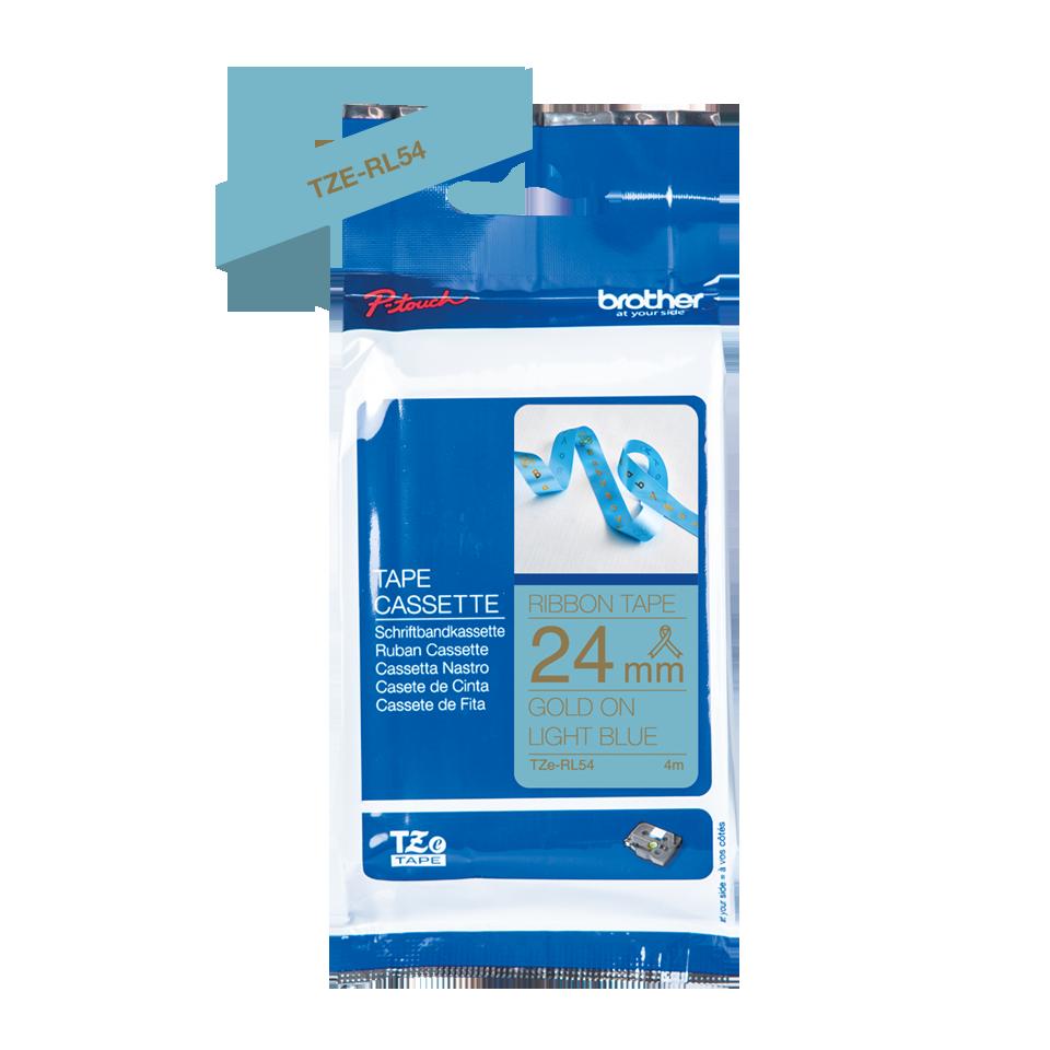 Originele Brother TZe-RL54 lintcassette – goud op lichtblauw, 24 mm breed 3