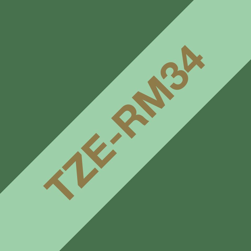 Originele Brother TZe-RM34 lintcassette – goud op mintgroen, 12 mm breed 3