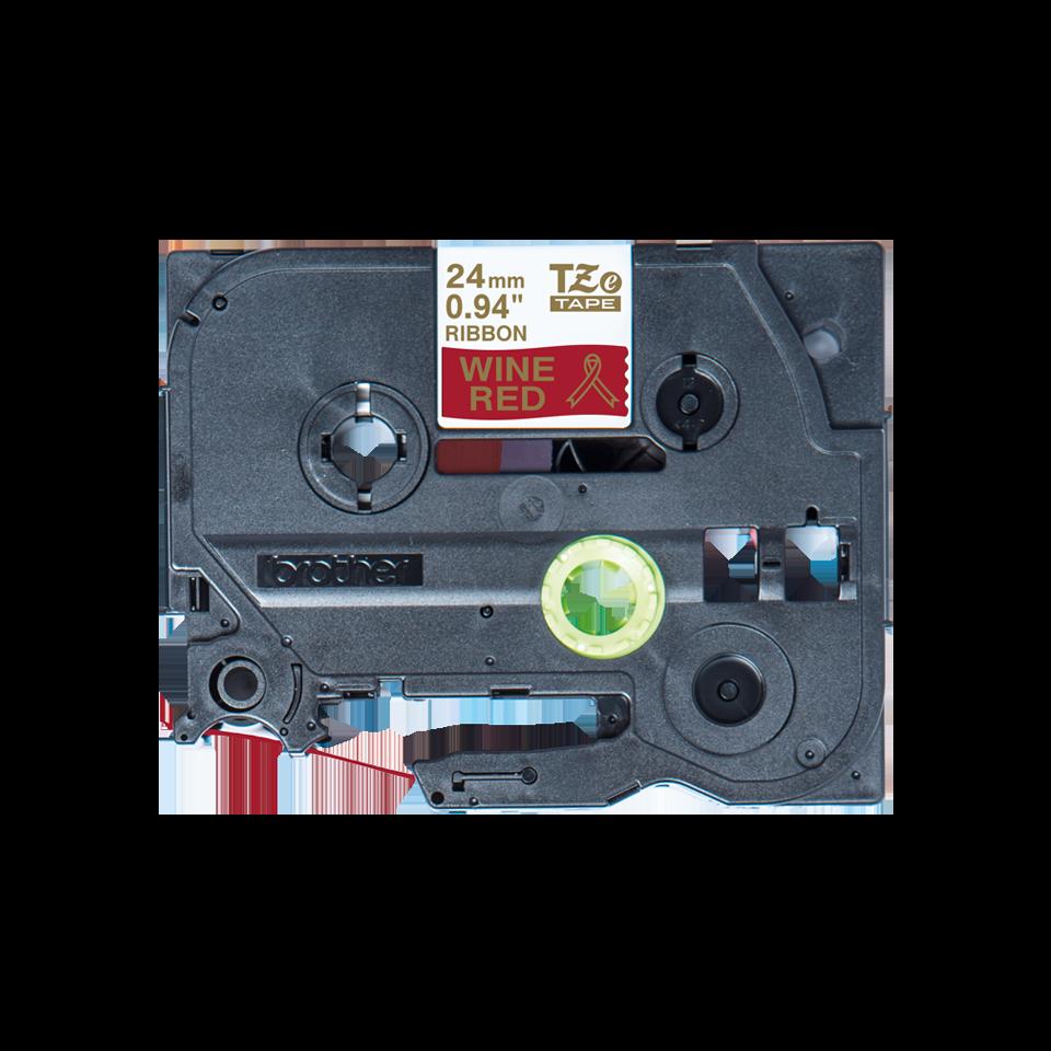 Originele Brother TZe-RW54 lintcassette – goud op wijnrood, 24 mm breed 2