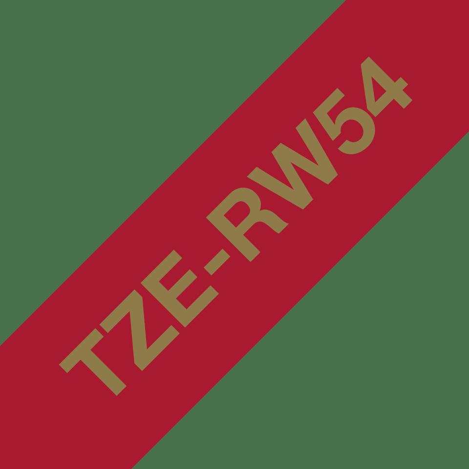 Originele Brother TZe-RW54 lintcassette – goud op wijnrood, 24 mm breed