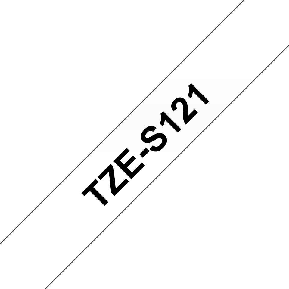 Originele Brother TZe-S121 sterk klevende label tapecassette - zwart op transparant, breedte 9 mm
