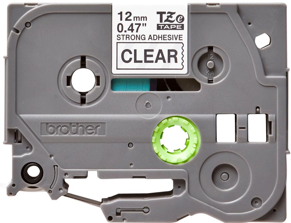 Originele Brother TZe-S131 sterk klevende label tapecassette - zwart op transparant, breedte 12 mm 2